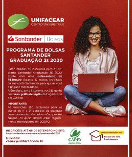 Parceria com Santander concede bolsas de estudo